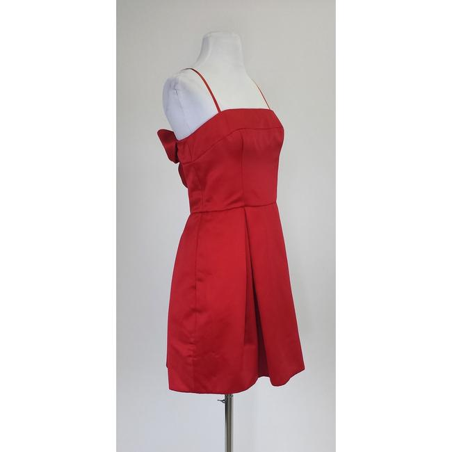 Jill Stuart short dress Red Satin Strapless With Bow Detail on Tradesy