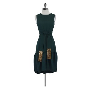 Hoss intropia short dress Green With Gold Sequin Belt on Tradesy