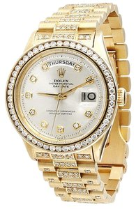 Rolex Mens,Diamond,Rolex,Day-date,President,18k,Yellow,Gold,Watch,Wgold,5,Ct.