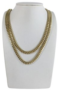 10k,Yellow,Gold,Miami,Cuban,Semi,Hollow,7mm,Wide,Chain,36,Necklace