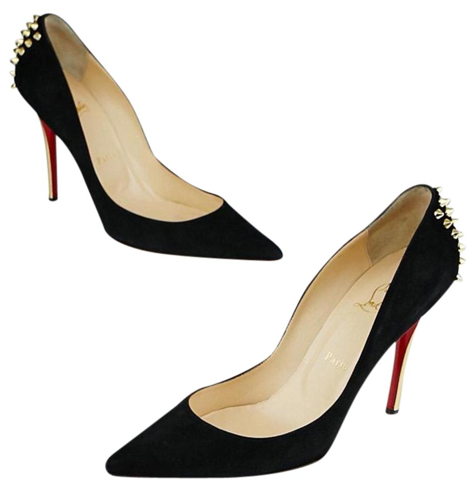 244980457626 Christian Louboutin Black Suede Spiked-heel Zappa 9.5 40 Pumps Size ...