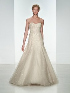 CHRISTOS Blush Beaded and Embellished Tulle Layla T336 Formal Wedding Dress Size 10 (M)