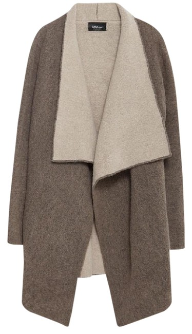 Item - Brown Cream Knit Collection Pointed Lapel V Neck Cardigan. Jacket Size 4 (S)