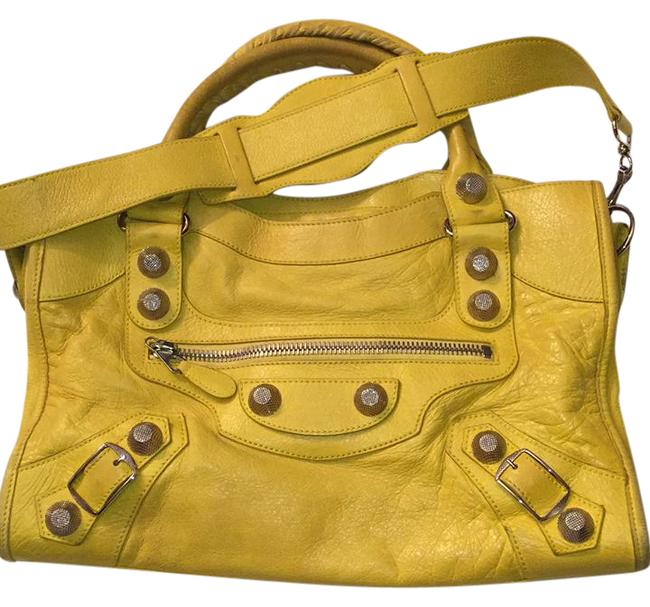 Item - Medium City Yellow with Silver Hardware Lambskin Leather Shoulder Bag