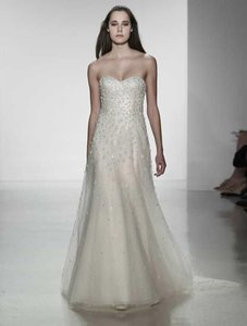 CHRISTOS Ivory Beaded and Embellished Tulle Mariah T309 Formal Wedding Dress Size 10 (M)