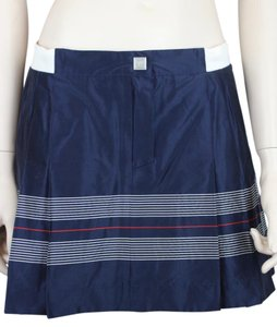 CHANEL Tennis Pleated Silk Striped Mini Skirt NAVY BLUE, RED, WHITE