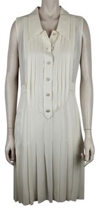 Chanel Pleated Sleeveless Silk Belted Dress
