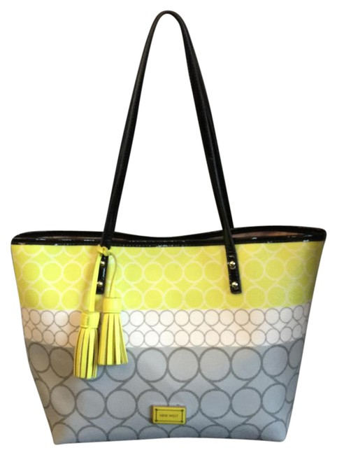 Item - Mod Print Shopper with Tassles Grey/Yellow/White/Black Faux Leather Tote