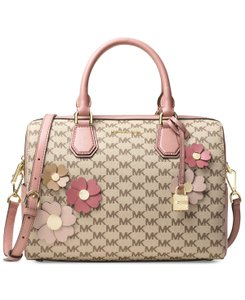 0d207ad75 Michael Kors Duffle Signature Canvas / Leather / Flora Satchel in Natural /  Fawn