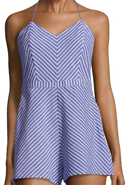 Item - Blue / White Striped Tie-back Chambray Romper/Jumpsuit