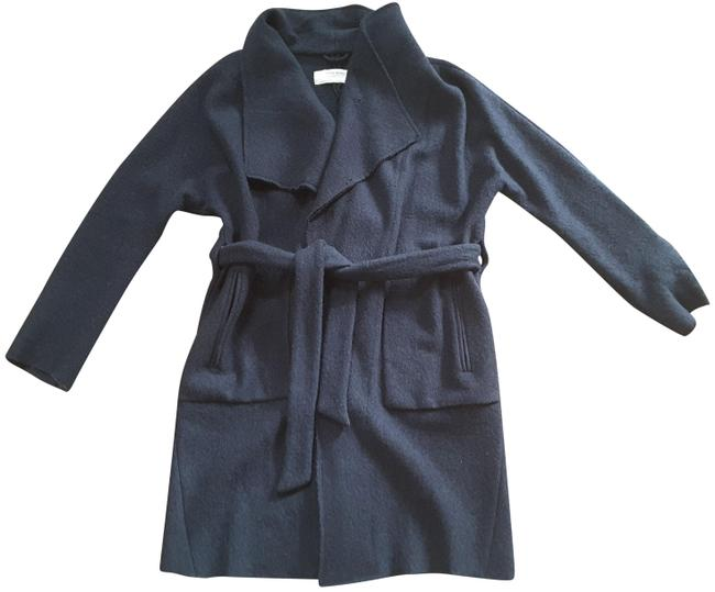 Item - Navy Wool Blend Draped Belted Long Wrap Coat Size 4 (S)
