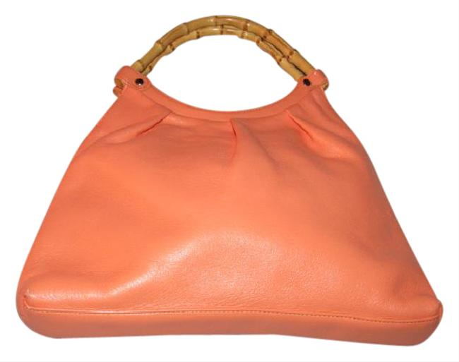Item - Ruched Handle Pouch Style Orange Sherbet W Bamboo Leather and Hobo Bag