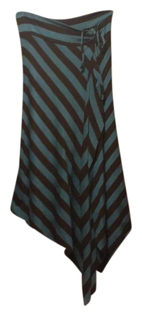 Item - Blue/Brown High Low Skirt Size 6 (S, 28)