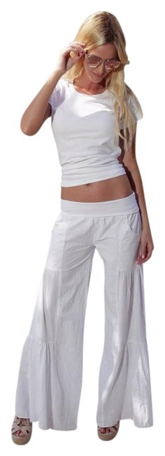 """Item - White Organic Fitted Cottage Chic """"Kamellia"""" Palazzo Pants Size 6 (S, 28)"""