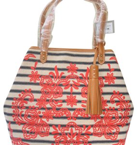 Isabella Fiore Summer Canvas Embroidered Leather Tote