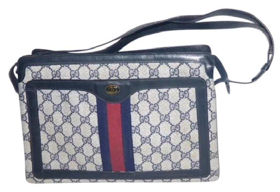 ea4e5c67265 Gucci Red Navy Large G Logo Accordion Bottom Great Everyday Excellent  Condition Shoulder Bag Image ...