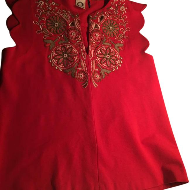 Item - Anthropologists Top. The Embroidery Is Gold Tan and Pink. Red Top
