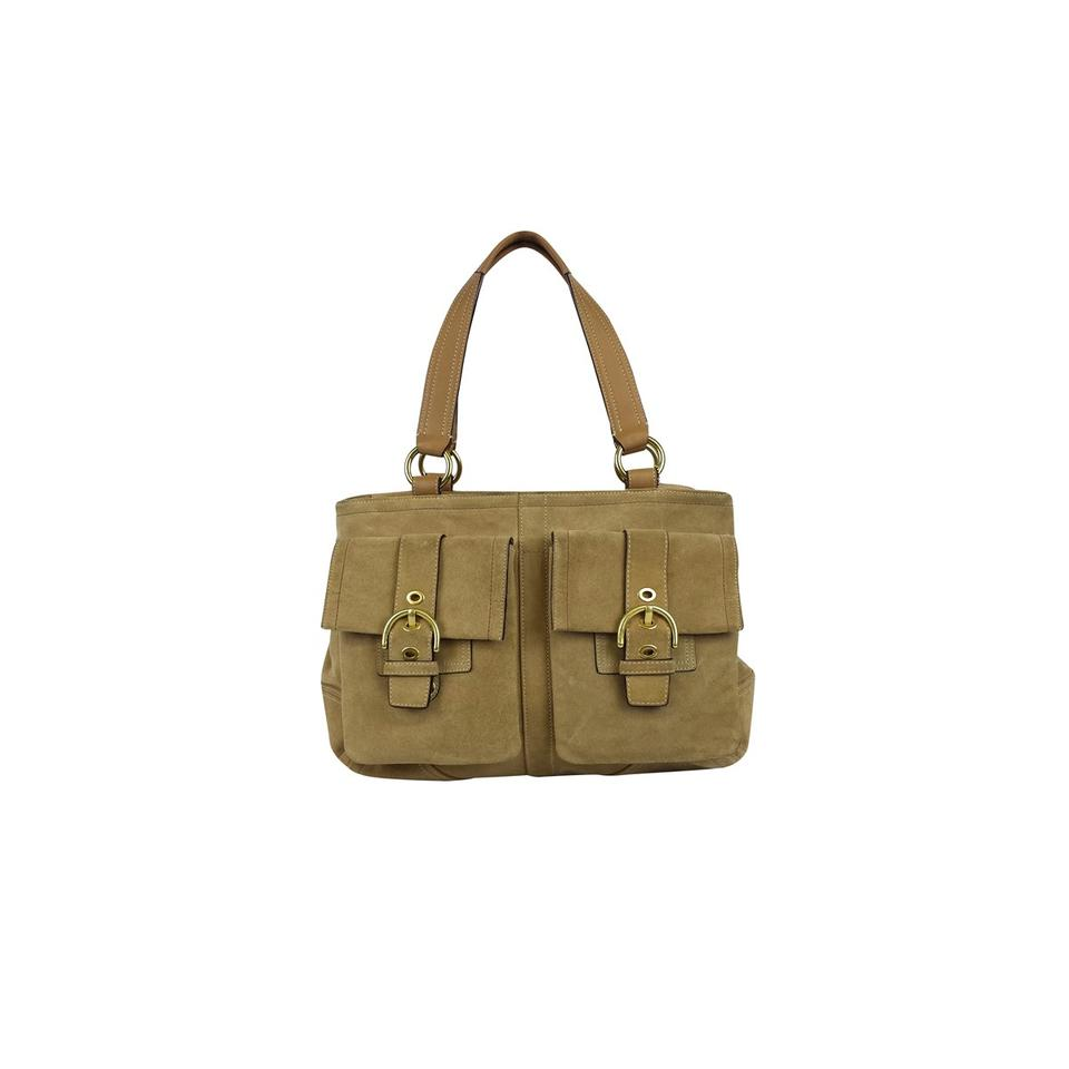 Coach Suede Leather Purse With Gold Buckle Satchel In Tan