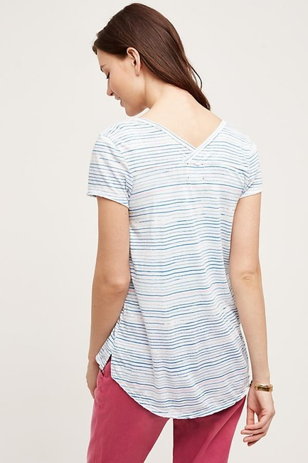 Anthropologie Striped T Shirt Blue and White Image 1