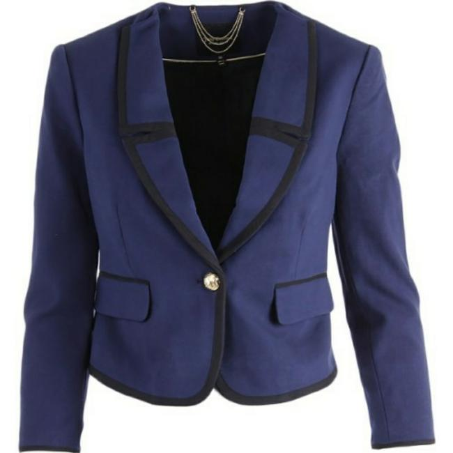 Juicy Couture Women's Jackets Women's Cropped Ponte Jacket Jacket Regal Blue and Black Blazer Image 1