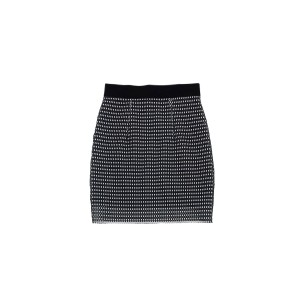 MILLY Layered Mesh Skirt Black & White