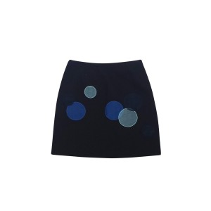 Moschino Mini With Blue Cricles Skirt Black