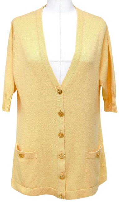 Item - Yellow Cashmere Sweater Knit Gold Button Down Cardigan Size 10 (M)