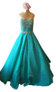 Val Stefani Ball Gown Full Length Prom Beaded Dress