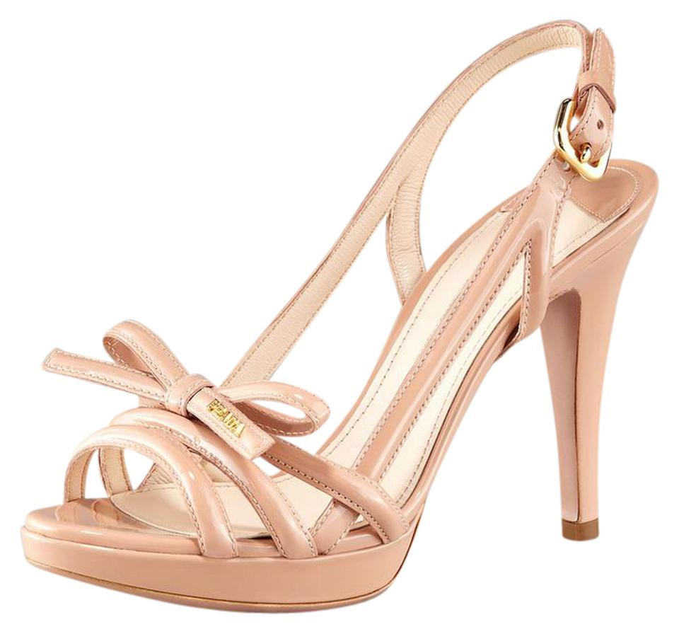 828ac8342 Prada Patent Leather Nude Platform Multi Strap with Bow Sandals Size ...