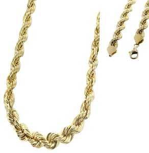 Top Gold & Diamond Jewelry 14K Yellow Gold DC Men's Solid Rope Chain Twist Necklace 4mm 26