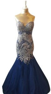 Val Stefani Mermaid Embroidered Strapless Dress