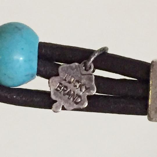 Lucky Brand lucky brand turquoise and silver tone leather beaded bracelet Image 3