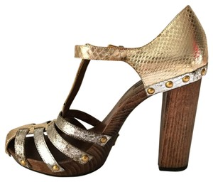 Dolce&Gabbana Silver and Gold Metallic with wooden heels Mules