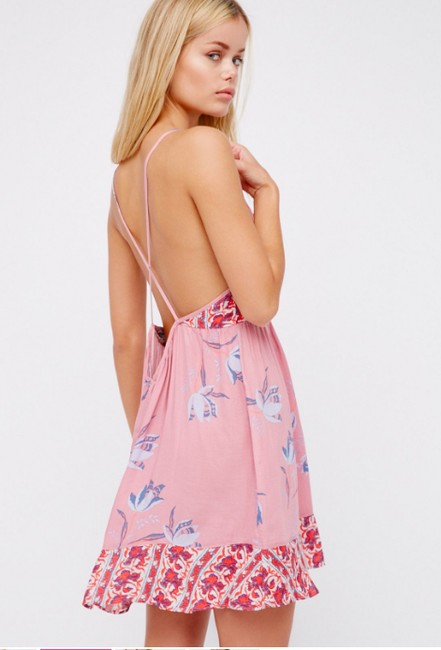 Free People short dress Pink Floral Flowers Slip Intimately on Tradesy Image 1