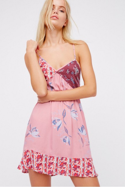 Free People short dress Pink Floral Flowers Slip Intimately on Tradesy Image 2