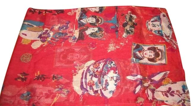 Item - Multicolored Asian Oriental Geisha Long Sheer Crinkle Polyester Scarf/Wrap