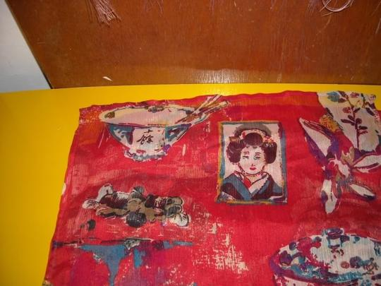 Chico's Chicos Asian Oriental Geisha Scarf Long Sheer Crinkle Polyester