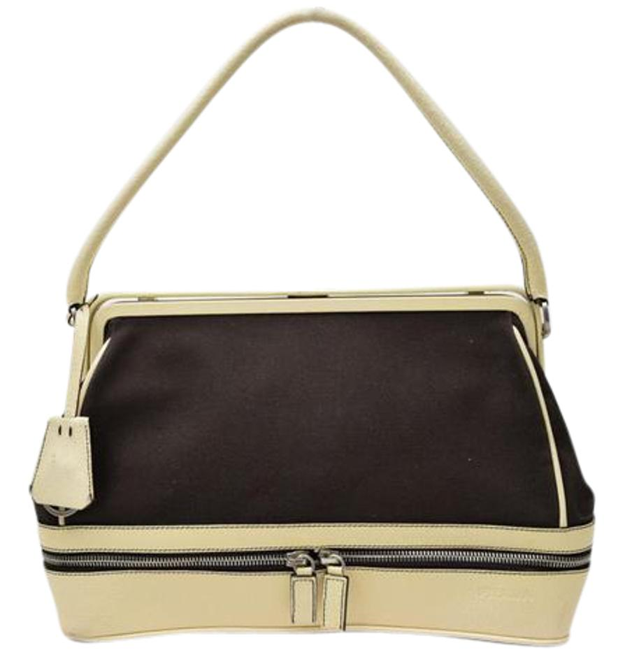 Prada Handheld Dual Zip Bottom Doctor s Shape Great For Everyday Mint Vintage  Satchel in brown canvas ... 0e82e315f5286