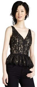 Robert Rodriguez Peplum Metallic Lace Chic V-neck Top Black/Gold