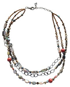 Silpada Coral And Sterling Three Strand Necklace