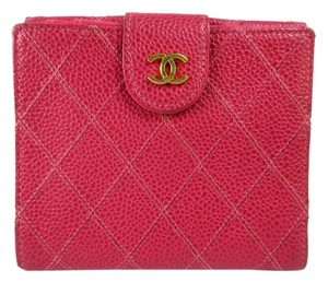 Chanel CHANEL Caviar skin Bifold Wallet Pink Gold Leather Made in France
