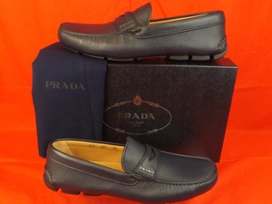 Prada Navy Mens Textured Leather Logo Moccasins Driving Loafers 8 9 Shoes