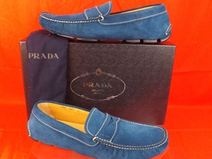 Prada Teal Mens Suede Logo Moccasins Driving Loafers 9.5 10.5 Italy Shoes