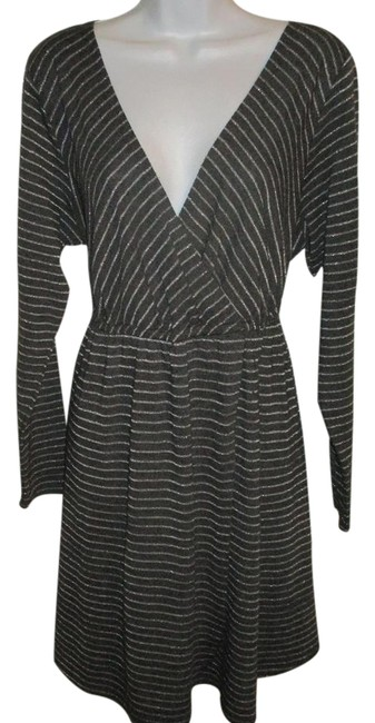Item - Gray Gray/Silver Striped Mid-length Work/Office Dress Size 22 (Plus 2x)