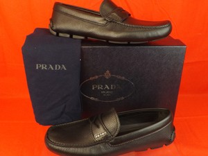 Prada Black Mens Navy Textured Leather Logo Moccasins Driving Loafers 7.5 8.5 Shoes