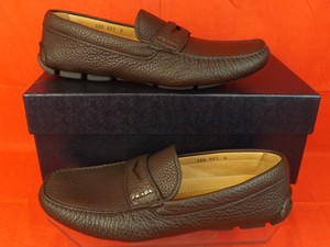 Prada Brown Mens Dark Textured Leather Logo Moccasins Driving Loafers 8 Us 9 Shoes