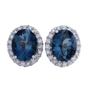 Fashion Strada 8.55CTW Natural Topaz And Diamond Earrings 14K Solid White Gold