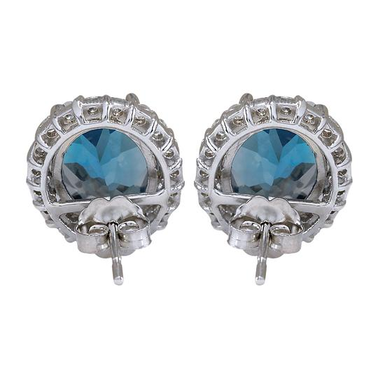Fashion Strada 8.55CTW Natural Topaz And Diamond Earrings 14K Solid White Gold Image 1