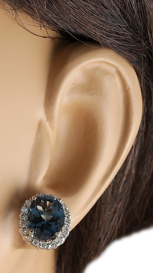 Fashion Strada 8.55CTW Natural Topaz And Diamond Earrings 14K Solid White Gold Image 2