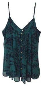 Akiko Spaghettistraps Adjustable Camisole Top Teal Green and Navy